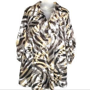 Dressbarn zebra safari print 1x blouse shirt top